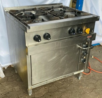 MKN Gasherd 4-flammig mit Elektrobackofen